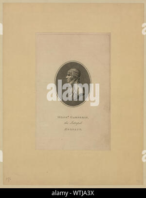 Monsr. Garnerin, the intrepid aeronaut; Oval head-and-shoulders profile portrait of French balloonist and parchutist A.J. Garnerin.; - Stock Photo
