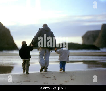 Father and two sons walking hand in hand on the beach - Stock Photo