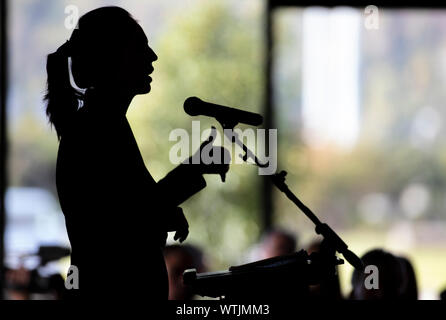Picture by Tim Cuff - 2 May 2019 - Prime Minister Jacinda Ardern speaking at the Nelson Tasman Chamber of Commerce lunch, Trafalgar Centre, Nelson, Ne - Stock Photo