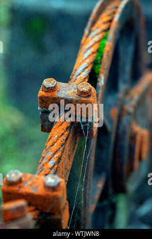 Picture by Tim Cuff - 13 June 2019 - A cable cart is used to ferry equipment up the hill and also bring leaves that fall into the headpond down to the - Stock Photo