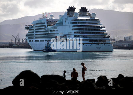 Picture by Tim Cuff - 25 January 2019 - Arrival of cruise ship Seabourn Encore into Port Nelson, New Zealand - Stock Photo