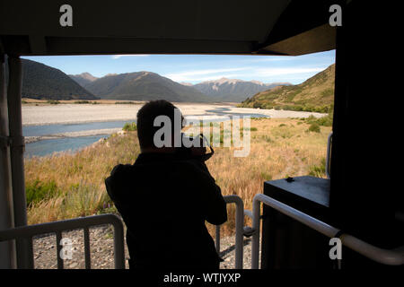 Picture by Tim Cuff - 4 & 5 January 2019 - Tranz Alpine train journey from Christchurch to Greymouth, New Zealand: spectacular scenery at the train ap - Stock Photo