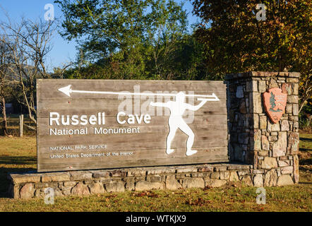 Russell Cave National Monument's Welcome Sign - Stock Photo