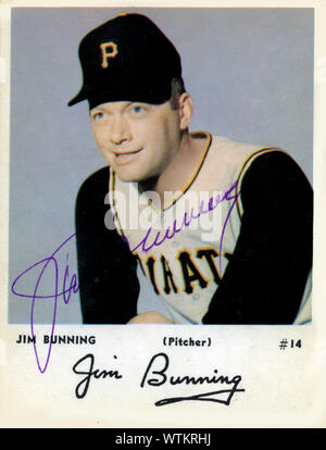 Autographed 1960's era baseball card of Hall of Fame player Jim Bunning with the Pitttsburgh Pirates. later in life Bunning was elected to Congress in Kentucky. - Stock Photo