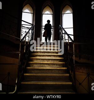 Silhouette Person Standing On Staircase Against Windows - Stock Photo