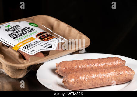 Beyond Meat plant based sausages in package of four links - Stock Photo