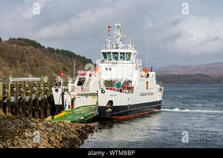 The Caledonian MacBrayne vehicle ferry, the MV Hallaig, at Lochaline, Morvern, Scotland, UK.  Connects with Fishnish on the Isle of Mull. - Stock Photo