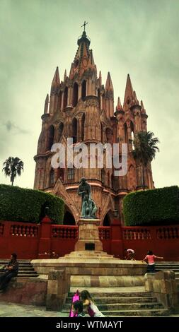 La Parroquia De San Miguel Archangel Cathedral Against Cloudy Sky - Stock Photo