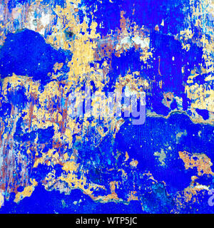 Full Frame Shot Of Blue Painted Wall - Stock Photo
