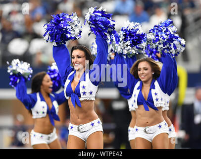 Arlington, Texas, USA. 8th Sep, 2019. The Dallas Cowboys cheerleaders perform prior to the first half of the NFL football game between the New York Giants and the Dallas Cowboys at AT&T Stadium in Arlington, Texas. Shane Roper/Cal Sport Media/Alamy Live News - Stock Photo