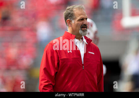 Madison, WI, USA. 7th Sep, 2019. Wisconsin Badgers associate coach Joe Rudolph before the NCAA Football game between the Central Michigan Chippewas and the Wisconsin Badgers at Camp Randall Stadium in Madison, WI. John Fisher/CSM/Alamy Live News - Stock Photo