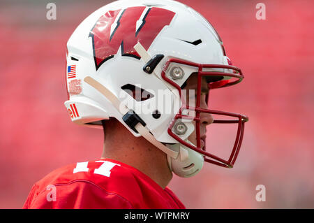 Madison, WI, USA. 7th Sep, 2019. Wisconsin Badgers quarterback Jack Coan #17 before the NCAA Football game between the Central Michigan Chippewas and the Wisconsin Badgers at Camp Randall Stadium in Madison, WI. John Fisher/CSM/Alamy Live News - Stock Photo