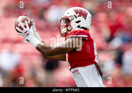 Madison, WI, USA. 7th Sep, 2019. the NCAA Football game between the Central Michigan Chippewas and the Wisconsin Badgers at Camp Randall Stadium in Madison, WI. John Fisher/CSM/Alamy Live News - Stock Photo