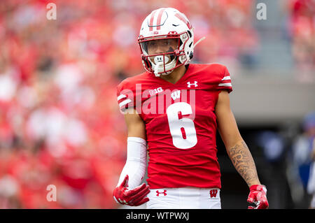 Madison, WI, USA. 7th Sep, 2019. Wisconsin Badgers cornerback Dean Engram #6 during the NCAA Football game between the Central Michigan Chippewas and the Wisconsin Badgers at Camp Randall Stadium in Madison, WI. John Fisher/CSM/Alamy Live News - Stock Photo