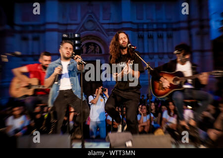 Bologna, Italy. 10th Sep, 2019. Fast Animals and Slow Kids, often abbreviated as FASK, are an Italian alternative rock band, formed in Perugia in 2008. On September 10th they performed in Piazza Maggiore in Bologna for a great free event, the premiere of the Tuttomoltobello festival which will also be held in Bologna in the 'Parco del Dopolavoro Ferroviario' 11, 12, 13 September. (Photo by Luigi Rizzo/Pacific Press) Credit: Pacific Press Agency/Alamy Live News - Stock Photo