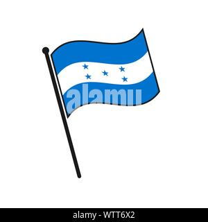 Simple flag Honduras icon isolated on white background - Stock Photo