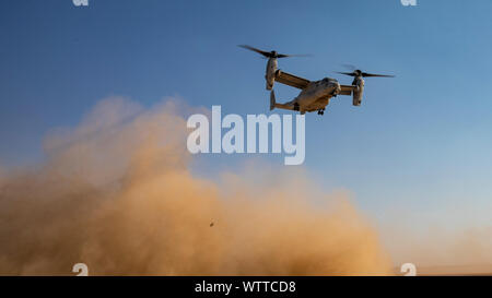 An MV-22 Osprey flown by U.S. Marines with Marine Medium Tiltrotor Squadron (VMM) 364, attached to Special Purpose Marine Air-Ground Task Force Crisis Response-Central Command, flies away during a Tactical Recovery Aircraft and Personnel Exercise (TRAPEX) at Kuwait on Sept. 8, 2019. The SPMAGTF-CR-CC is a quick reaction force, prepared to deploy a variety of capabilities across the region. (U.S. Marine Corps photo by Sgt. Robert G. Gavaldon) - Stock Photo
