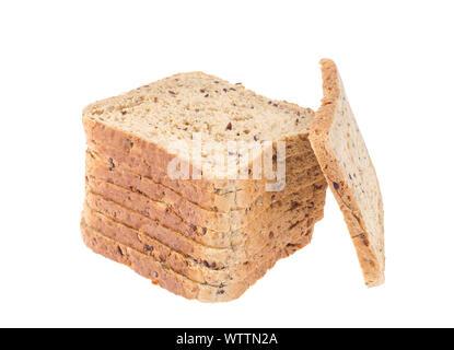 Stack of sliced chopped whole grain bread. Studio Photo - Stock Photo