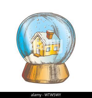 Snow Globe With House Souvenir Vintage Vector - Stock Photo