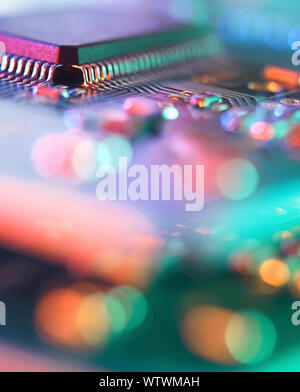 Printed circuit board showing central processing unit and components. - Stock Photo