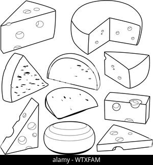 Various types of cheese. Black and white outline illustration. - Stock Photo