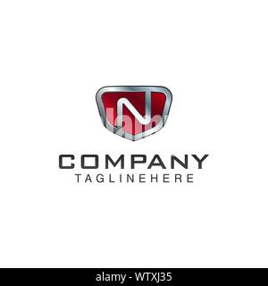 N Letter shield vector logo template. Black and red color. This alphabet or font symbol suitable for protection business or automotive - Stock Photo