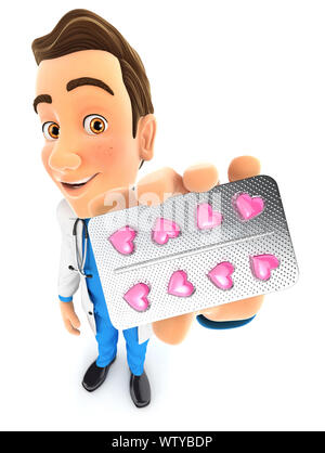 3d doctor holding heart pills tablet, illustration with isolated white background - Stock Photo