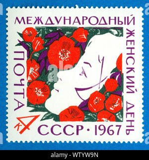 USSR-CIRCA 1967: A stamp printed in the soviet Union showing International Women's Day, circa 1967 - Stock Photo