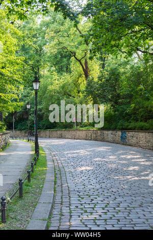 Berlin, Germany- June 4, 2019: a walk on a warm sunny day in the park Volkspark Friedrichshain - Stock Photo