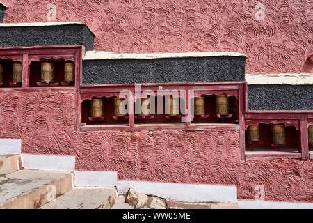 Prayer wheels in Thiksey Monastery near Leh, Ladakh, - Stock Photo
