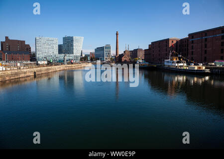 A view of the Royal Albert Dock, Liverpool, U.K. following a complete regenerative transformation in 1988 and now one of the most visited attractions - Stock Photo