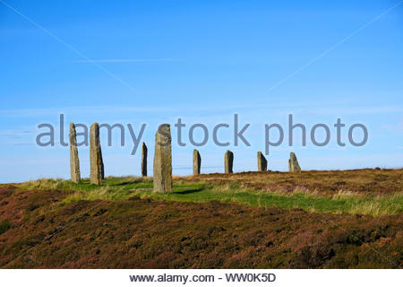 Ring of Brodgar Orkney, a Neolithic henge and stone circle monument, Orkney Scotland - Stock Photo