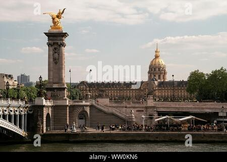 River By Pont Alexandre Iii And Hotel Des Invalides Against Sky