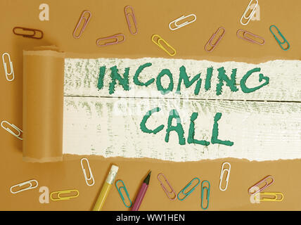 Conceptual hand writing showing Incoming Call. Concept meaning Inbound Received Caller ID Telephone Voicemail Vidcall - Stock Photo