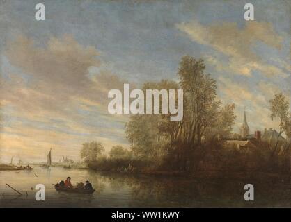 River view near Deventer, Salomon van Ruysdael, 1645.jpg - WW1KWY - Stock Photo