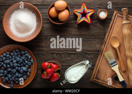 dessert recipes, desserts, puff pastry, flat lay, desserts, alamy, shutterstock, border, wooden background - Stock Photo