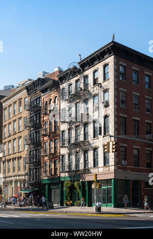 New York Canal Street, view in summer of typical downtown Manhattan 19th century buildings along Canal St, Soho, New York City, USA - Stock Photo
