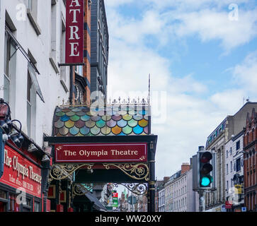 A side view of the stained glass canopy of the Olympia Theatre, Dublin, Ireland. the canopy was originally erected in 1890.. - Stock Photo