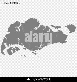 High quality map of Singapore with borders of the regions - Stock Photo