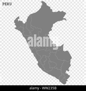 High quality map of Peru with borders of the regions - Stock Photo