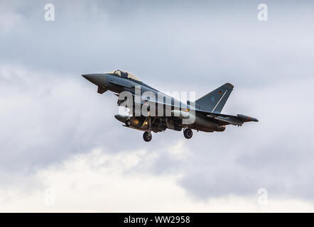 Exercise Cobra Warrior 2019 - Typhoon 30+50 of the German Air Force departs RAF Waddington, Lincolnshire, on exercise -  September 11th 2019 - Stock Photo