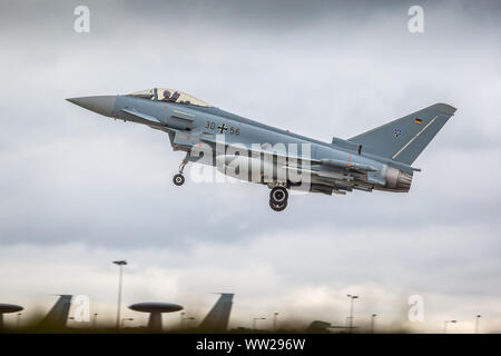 Exercise Cobra Warrior 2019 - Typhoon 30+56 of the German Air Force departs RAF Waddington, Lincolnshire, on exercise -  September 11th 2019 - Stock Photo
