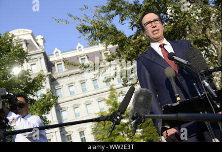 Washington, DC, USA. 12th Sep 2019. Treasury Secretary Steven Mnuchin makes remarks to reporters outside the West Wing of the White House, Thursday, September 12, 2019, in Washington, DC. Mnuchin commented on continuing trade talks with China, the bond market and the overall economy.      Photo by Mike Theiler/UPI Credit: UPI/Alamy Live News - Stock Photo