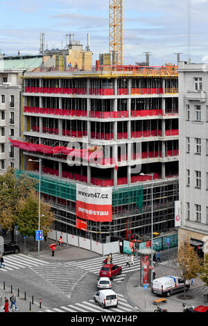 The Flow Building construction site on the corner of Opletalova street and Wenceslas Square, Prague, Czech Republic, September 12, 2019. The building, - Stock Photo