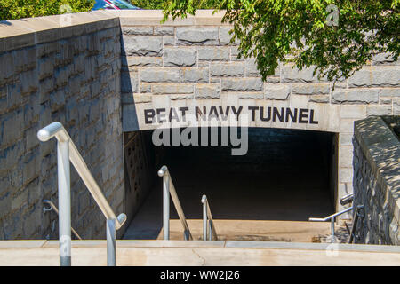 West Point, New York - August 30, 2019: Entrance to the Beat Navy Tunnel on the campus of West Point Naval academy - Stock Photo