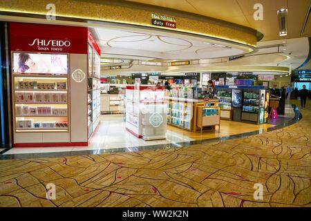 SINGAPORE - CIRCA APRIL, 2019: Cosmetics & Perfumes by The Shilla Duty Free in Changi International Airport. - Stock Photo