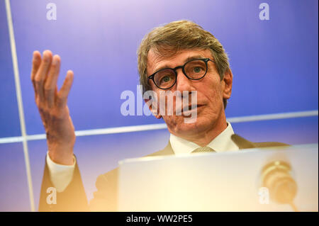 Brussels, Belgium. 12th Sep, 2019. European Parliament President David Sassoli addresses a press conference about Brexit and other topic issues in Brussels, Belgium, Sept. 12, 2019. Credit: Riccardo Pareggiani/Xinhua - Stock Photo