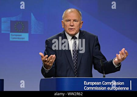 Brussels, Belgium. 12th Sep. 2019. Press conference by Commissioner Vytenis ANDRIUKAITIS and the Director-General of the World Health Organization Tedros ADHANOM GHEBREYESUS, on occasion of the Global Vaccination Summit. Alexandros Michailidis/Alamy Live News - Stock Photo