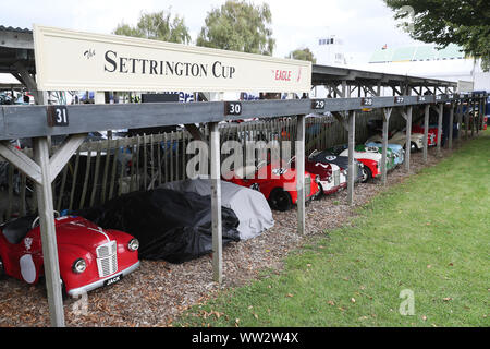 Goodwood, West Sussex, UK. 12th Sep, 2019. Austin J40 pedal cars gather at Goodwood motor racing circuit ready for the Settrington Cup pedal car races on Saturday and Sunday at the Goodwood Revival in Goodwood, West Sussex, UK. Credit: Malcolm Greig/Alamy Live News - Stock Photo