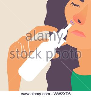 Girl with a runny nose. Treatment of a runny nose spray. Allergy. Vector editable illustration - Stock Photo